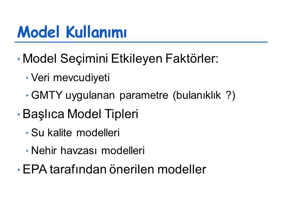 Model Kullanımı Model Seçimini Etkileyen Faktörler: Veri mevcudiyeti GMTY uygulanan parametre (bulanıklık ) Başlıca Model Tipleri Su kalite modelleri Nehir havzası modelleri EPA tarafından önerilen modeller