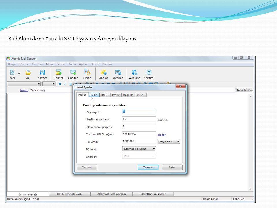 Bu bölüm de en üstte ki SMTP yazan sekmeye tıklayınız.