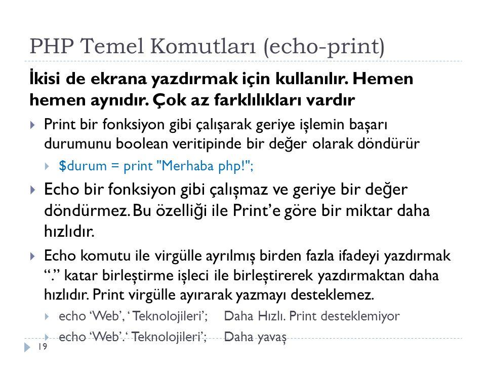 PHP Temel Komutları (echo-print) İ kisi de ekrana yazdırmak için kullanılır.