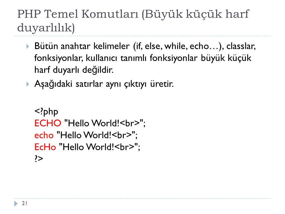 PHP Temel Komutları (Büyük küçük harf duyarlılık)  Bütün anahtar kelimeler (if, else, while, echo…), classlar, fonksiyonlar, kullanıcı tanımlı fonksiyonlar büyük küçük harf duyarlı de ğ ildir.