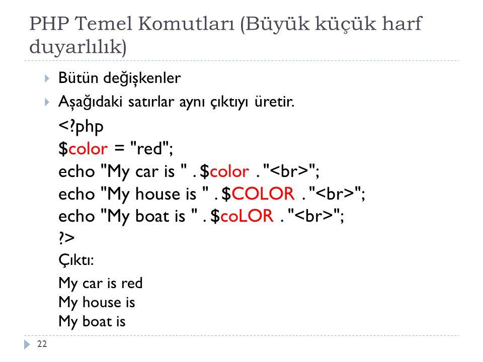PHP Temel Komutları (Büyük küçük harf duyarlılık)  Bütün de ğ işkenler  Aşa ğ ıdaki satırlar aynı çıktıyı üretir.