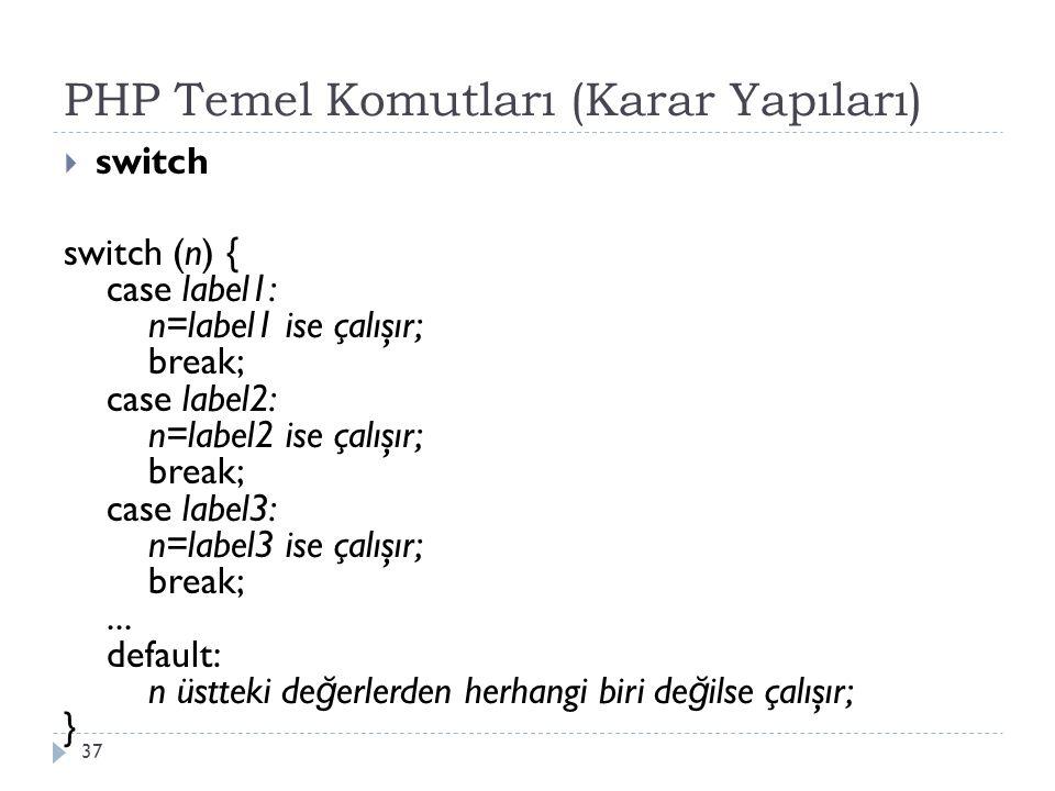 PHP Temel Komutları (Karar Yapıları)  switch switch (n) { case label1: n=label1 ise çalışır; break; case label2: n=label2 ise çalışır; break; case label3: n=label3 ise çalışır; break;...