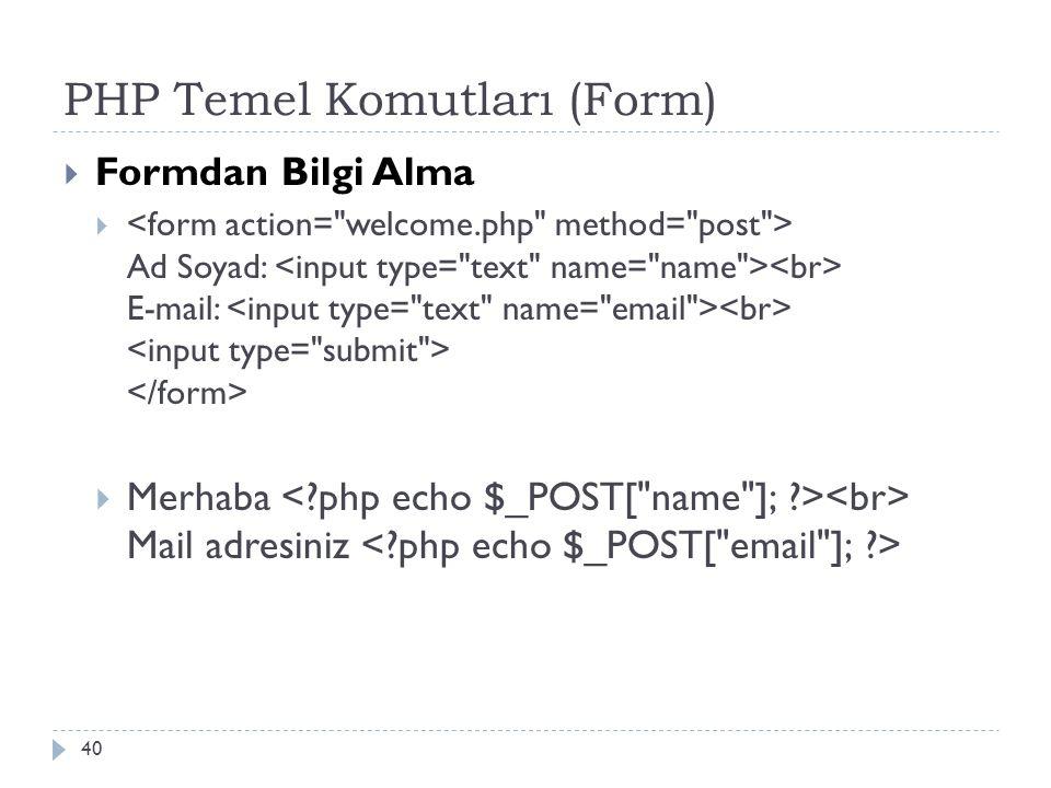PHP Temel Komutları (Form)  Formdan Bilgi Alma  Ad Soyad: E-mail:  Merhaba Mail adresiniz 40