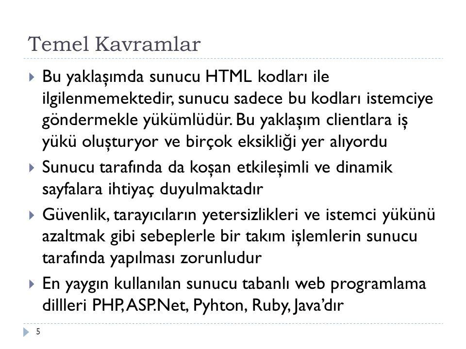 Temel Kavramlar  Bu yaklaşımda sunucu HTML kodları ile ilgilenmemektedir, sunucu sadece bu kodları istemciye göndermekle yükümlüdür.