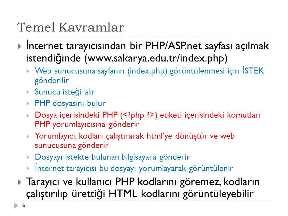 Temel Kavramlar  İ nternet tarayıcısından bir PHP/ASP.net sayfası açılmak istendi ğ inde (www.sakarya.edu.tr/index.php)  Web sunucusuna sayfanın (index.php) görüntülenmesi için İ STEK gönderilir  Sunucu iste ğ i alır  PHP dosyasını bulur  Dosya içerisindeki PHP ( ) etiketi içerisindeki komutları PHP yorumlayıcısına gönderir  Yorumlayıcı, kodları çalıştırarak html'ye dönüştür ve web sunucusuna gönderir  Dosyayı istekte bulunan bilgisayara gönderir  İ nternet tarayıcısı bu dosyayı yorumlayarak görüntülenir  Tarayıcı ve kullanıcı PHP kodlarını göremez, kodların çalıştırılıp üretti ğ i HTML kodlarını görüntüleyebilir 6
