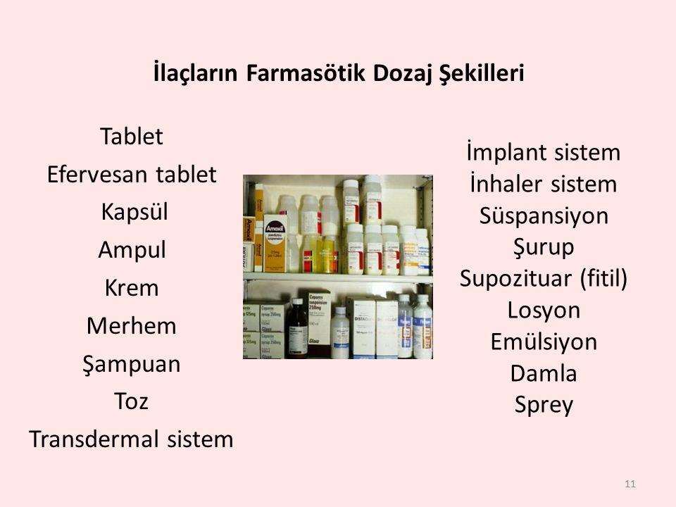Tablet Efervesan tablet Kapsül Ampul Krem Merhem Şampuan Toz Transdermal sistem 11 İmplant sistem İnhaler sistem Süspansiyon Şurup Supozituar (fitil)