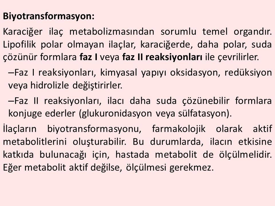 Biyotransformasyon: Karaciğer ilaç metabolizmasından sorumlu temel organdır. Lipofilik polar olmayan ilaçlar, karaciğerde, daha polar, suda çözünür fo