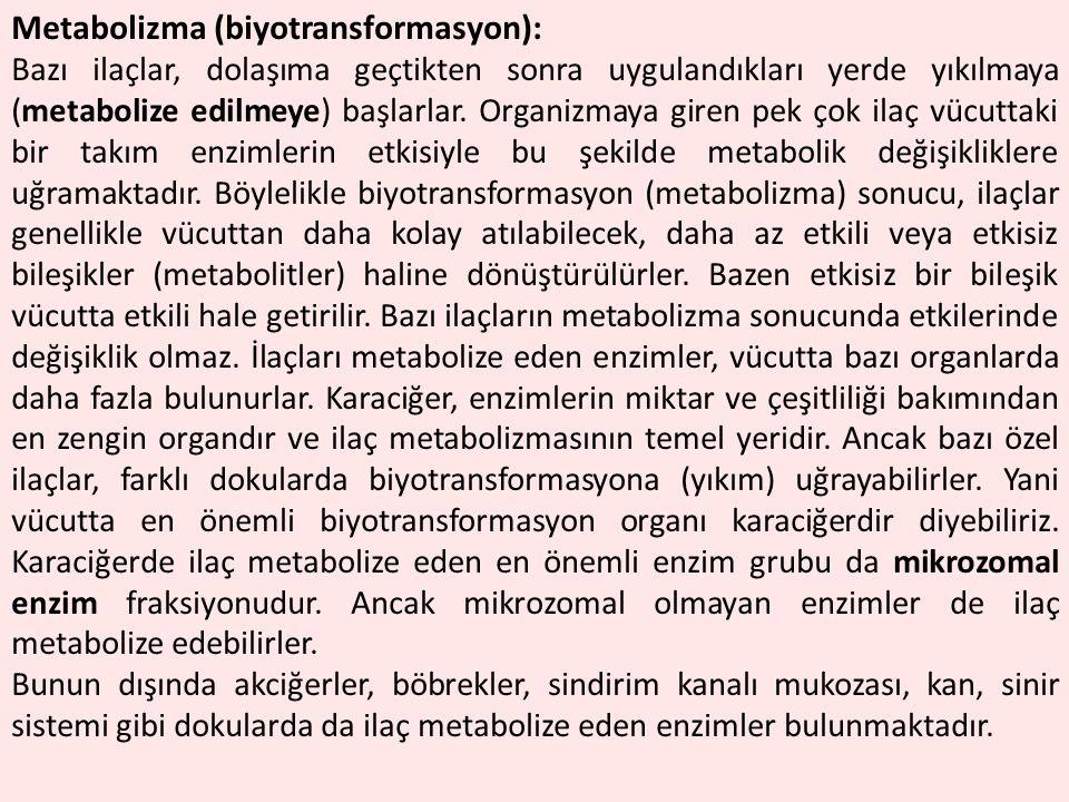 Metabolizma (biyotransformasyon): Bazı ilaçlar, dolaşıma geçtikten sonra uygulandıkları yerde yıkılmaya (metabolize edilmeye) başlarlar. Organizmaya g