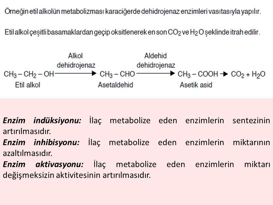 Enzim indüksiyonu: İlaç metabolize eden enzimlerin sentezinin artırılmasıdır. Enzim inhibisyonu: İlaç metabolize eden enzimlerin miktarının azaltılmas
