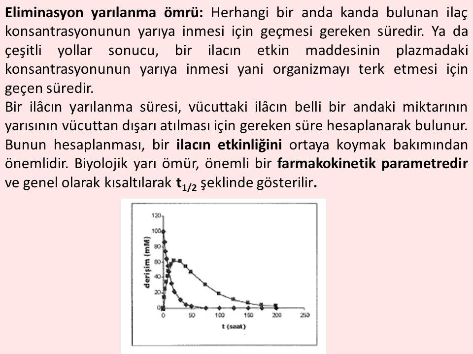 Eliminasyon yarılanma ömrü: Herhangi bir anda kanda bulunan ilaç konsantrasyonunun yarıya inmesi için geçmesi gereken süredir. Ya da çeşitli yollar so