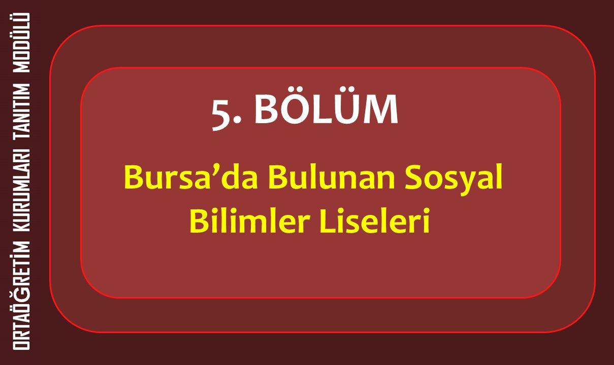 5. BÖLÜM Bursa'da Bulunan Sosyal Bilimler Liseleri