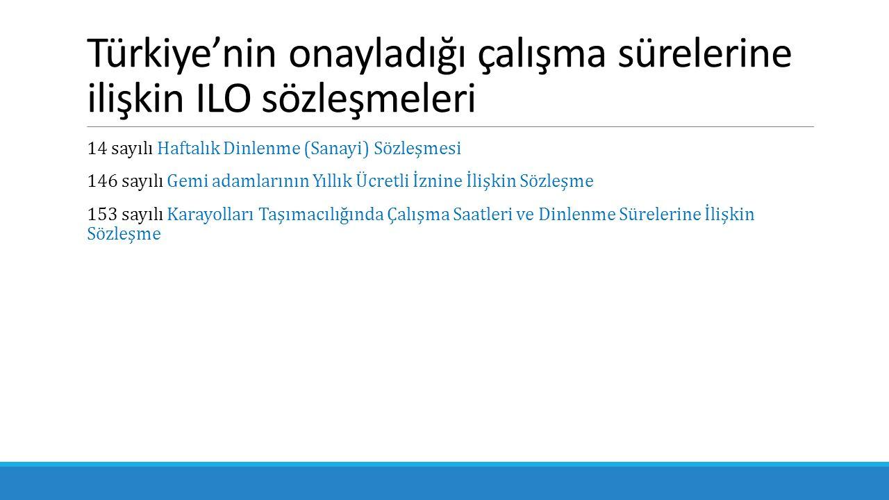 Türkiye'nin onayladığı çalışma sürelerine ilişkin ILO sözleşmeleri 14 sayılı Haftalık Dinlenme (Sanayi) Sözleşmesi 146 sayılı Gemi adamlarının Yıllık