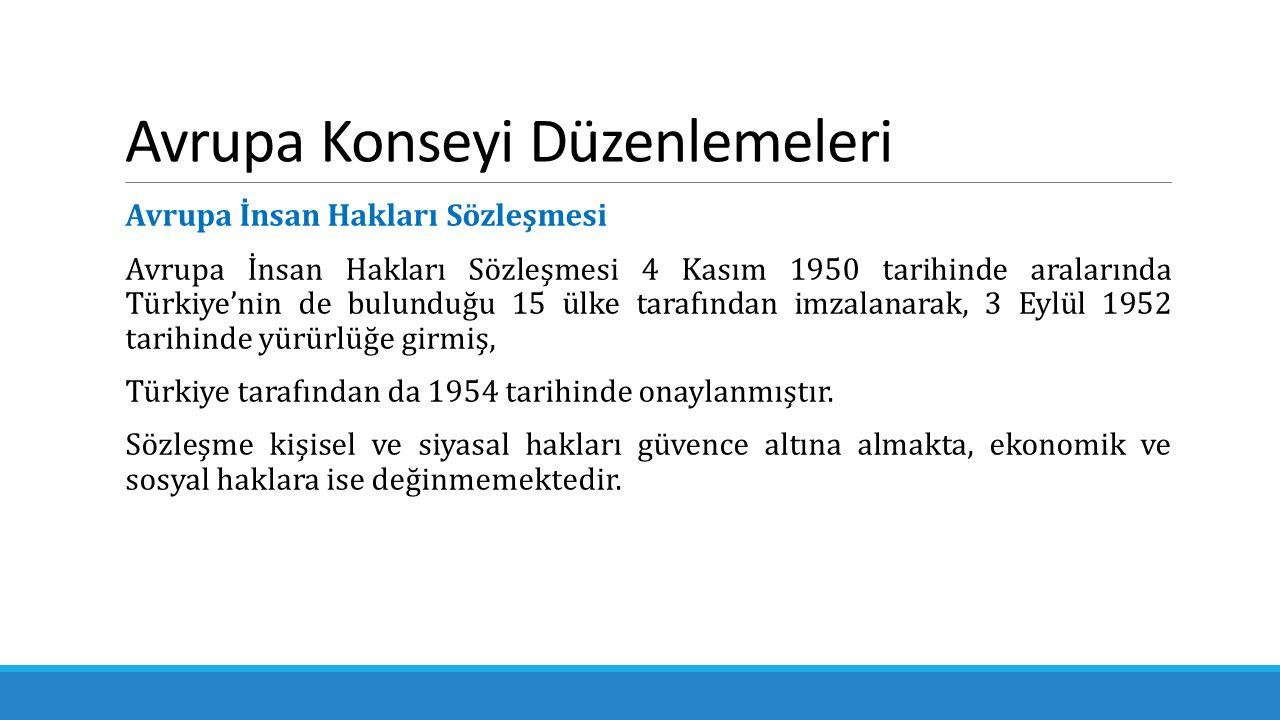 Avrupa Konseyi Düzenlemeleri Avrupa İnsan Hakları Sözleşmesi Avrupa İnsan Hakları Sözleşmesi 4 Kasım 1950 tarihinde aralarında Türkiye'nin de bulunduğ
