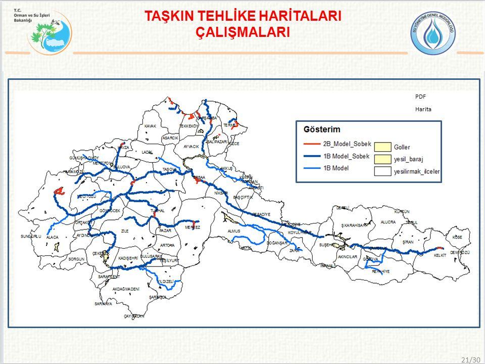 TAŞKIN TEHLİKE HARİTALARI ÇALIŞMALARI PDF Harita 21/30
