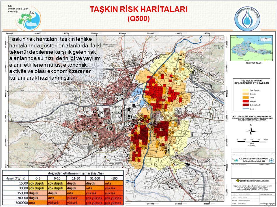 Taşkın risk haritaları, taşkın tehlike haritalarında gösterilen alanlarda, farklı tekerrür debilerine karşılık gelen risk alanlarında su hızı, derinliği ve yayılım alanı, etkilenen nüfus, ekonomik aktivite ve olası ekonomik zararlar kullanılarak hazırlanmıştır.