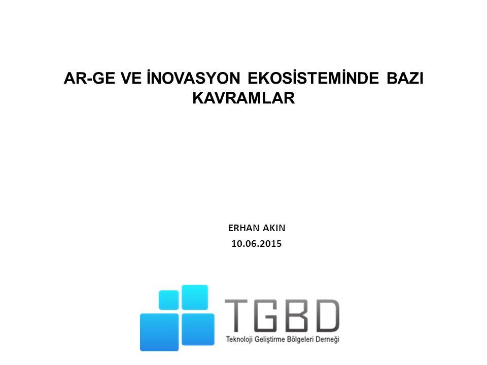 AR-GE VE İNOVASYON EKOSİSTEMİNDE BAZI KAVRAMLAR ERHAN AKIN 10.06.2015