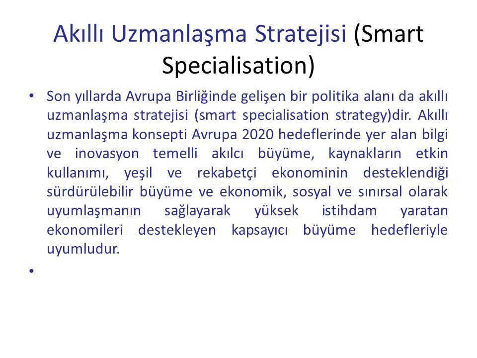 Akıllı Uzmanlaşma Stratejisi (Smart Specialisation) Son yıllarda Avrupa Birliğinde gelişen bir politika alanı da akıllı uzmanlaşma stratejisi (smart specialisation strategy)dir.