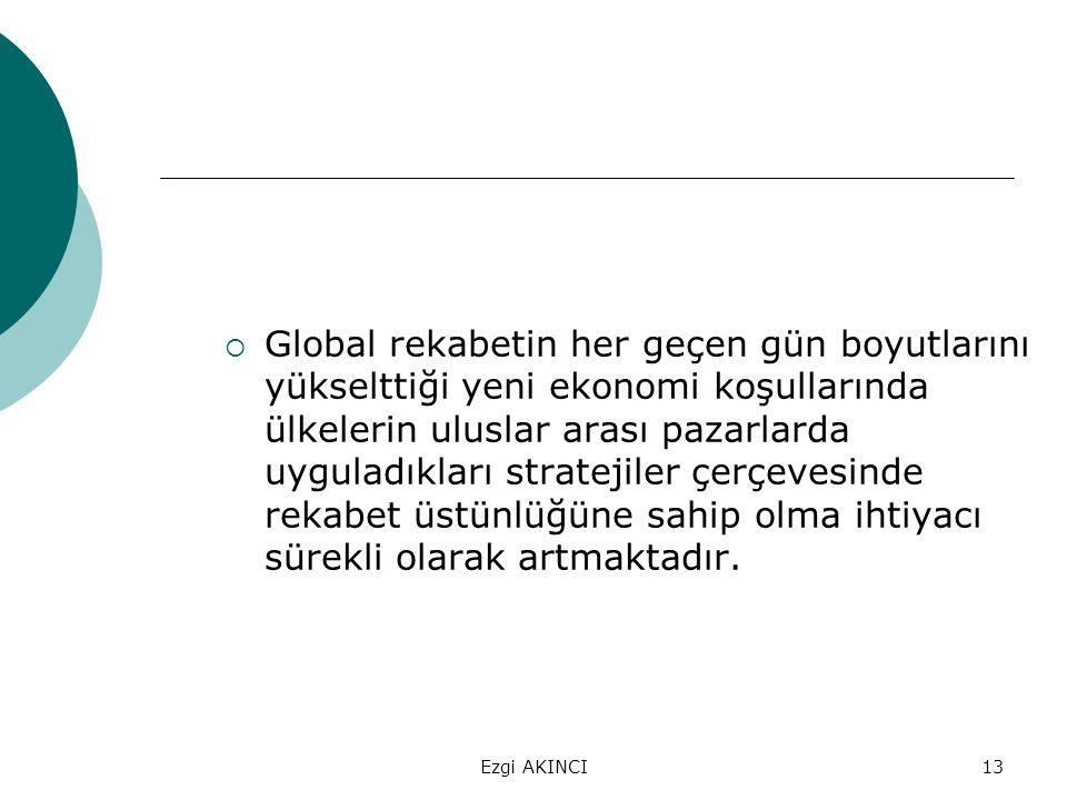 Ezgi AKINCI13  Global rekabetin her geçen gün boyutlarını yükselttiği yeni ekonomi koşullarında ülkelerin uluslar arası pazarlarda uyguladıkları stra