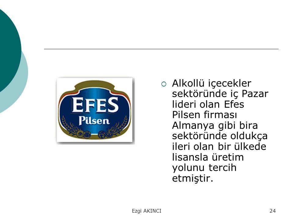 Ezgi AKINCI24  Alkollü içecekler sektöründe iç Pazar lideri olan Efes Pilsen firması Almanya gibi bira sektöründe oldukça ileri olan bir ülkede lisan