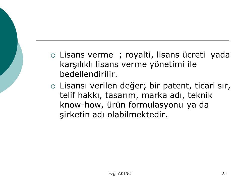 Ezgi AKINCI25  Lisans verme ; royalti, lisans ücreti yada karşılıklı lisans verme yönetimi ile bedellendirilir.  Lisansı verilen değer; bir patent,
