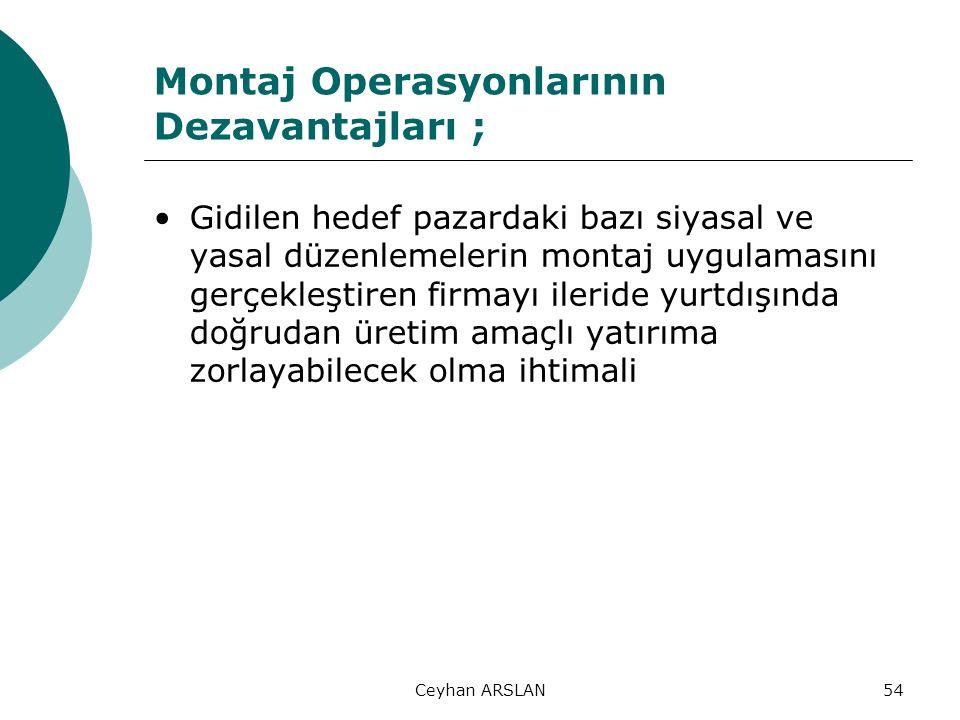 Ceyhan ARSLAN54 Montaj Operasyonlarının Dezavantajları ; Gidilen hedef pazardaki bazı siyasal ve yasal düzenlemelerin montaj uygulamasını gerçekleştir