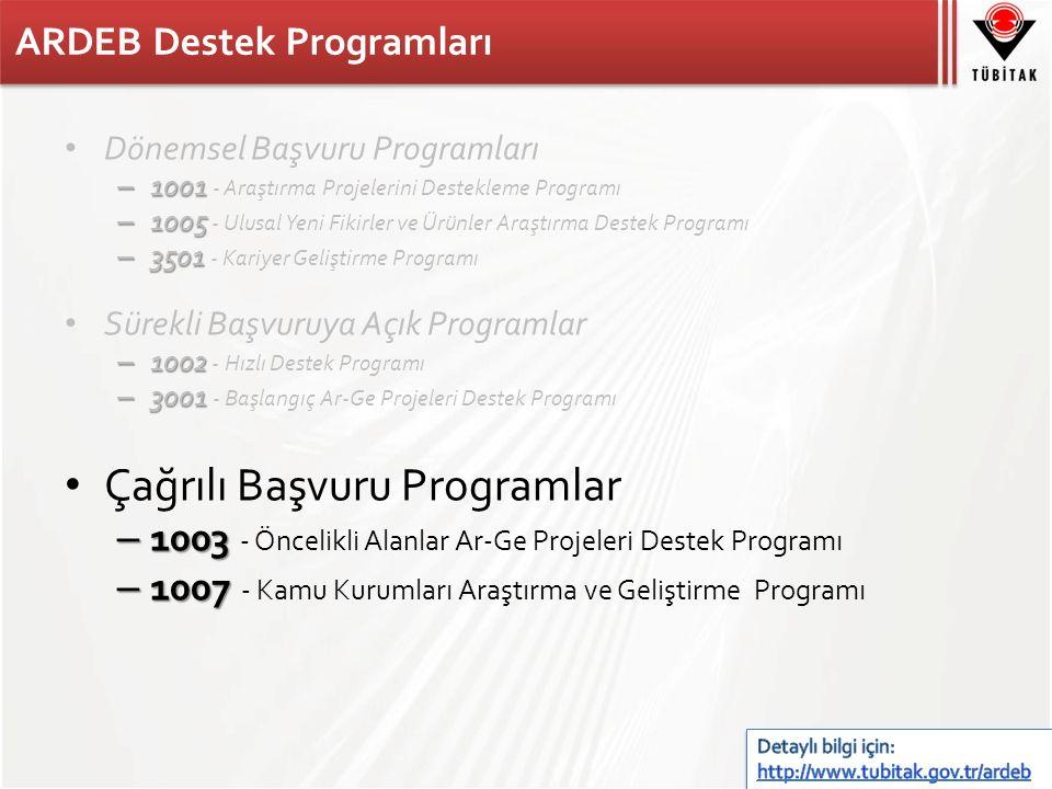 ARDEB Destek Programları Dönemsel Başvuru Programları – 1001 – 1001 - Araştırma Projelerini Destekleme Programı – 1005 – 1005 - Ulusal Yeni Fikirler ve Ürünler Araştırma Destek Programı – 3501 – 3501 - Kariyer Geliştirme Programı Sürekli Başvuruya Açık Programlar – 1002 – 1002 - Hızlı Destek Programı – 3001 – 3001 - Başlangıç Ar-Ge Projeleri Destek Programı Çağrılı Başvuru Programlar – 1003 – 1003 - Öncelikli Alanlar Ar-Ge Projeleri Destek Programı – 1007 – 1007 - Kamu Kurumları Araştırma ve Geliştirme Programı