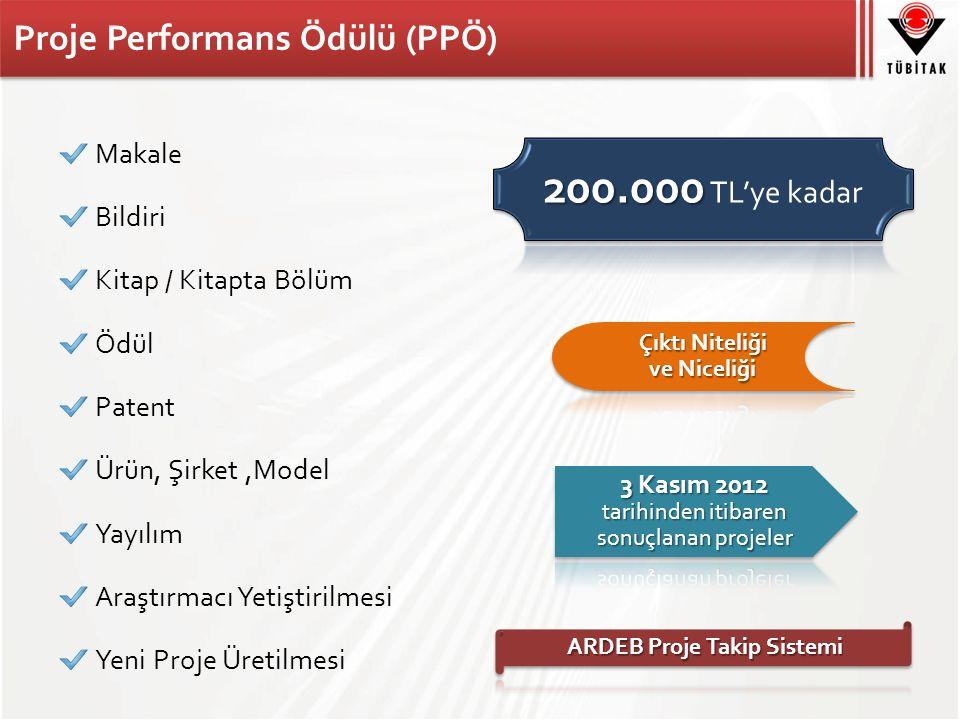 Proje Performans Ödülü (PPÖ) Makale Bildiri Kitap / Kitapta Bölüm Ödül Patent Ürün, Şirket,Model Yayılım Araştırmacı Yetiştirilmesi Yeni Proje Üretilmesi
