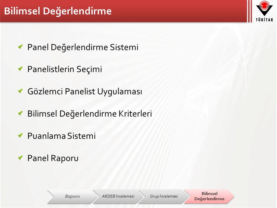 Panel Değerlendirme Sistemi Panelistlerin Seçimi Gözlemci Panelist Uygulaması Bilimsel Değerlendirme Kriterleri Puanlama Sistemi Panel Raporu BaşvuruARDEB İncelemesiGrup İncelemesi Bilimsel Değerlendirme