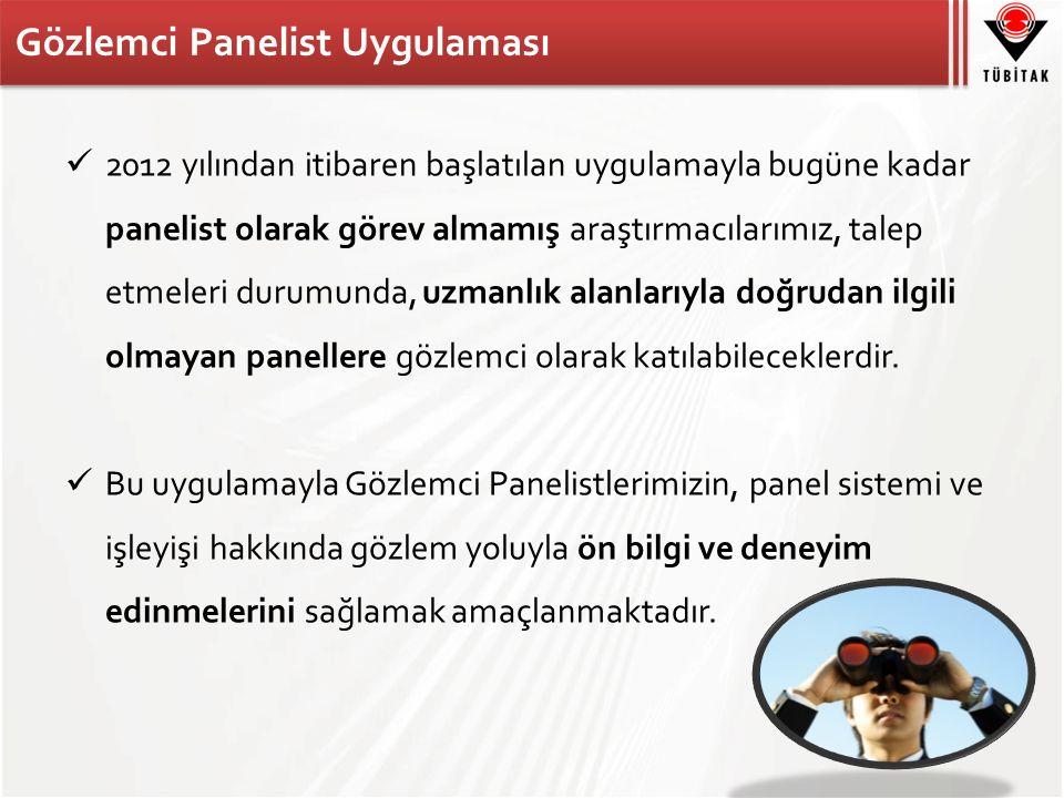 Gözlemci Panelist Uygulaması 2012 yılından itibaren başlatılan uygulamayla bugüne kadar panelist olarak görev almamış araştırmacılarımız, talep etmeleri durumunda, uzmanlık alanlarıyla doğrudan ilgili olmayan panellere gözlemci olarak katılabileceklerdir.