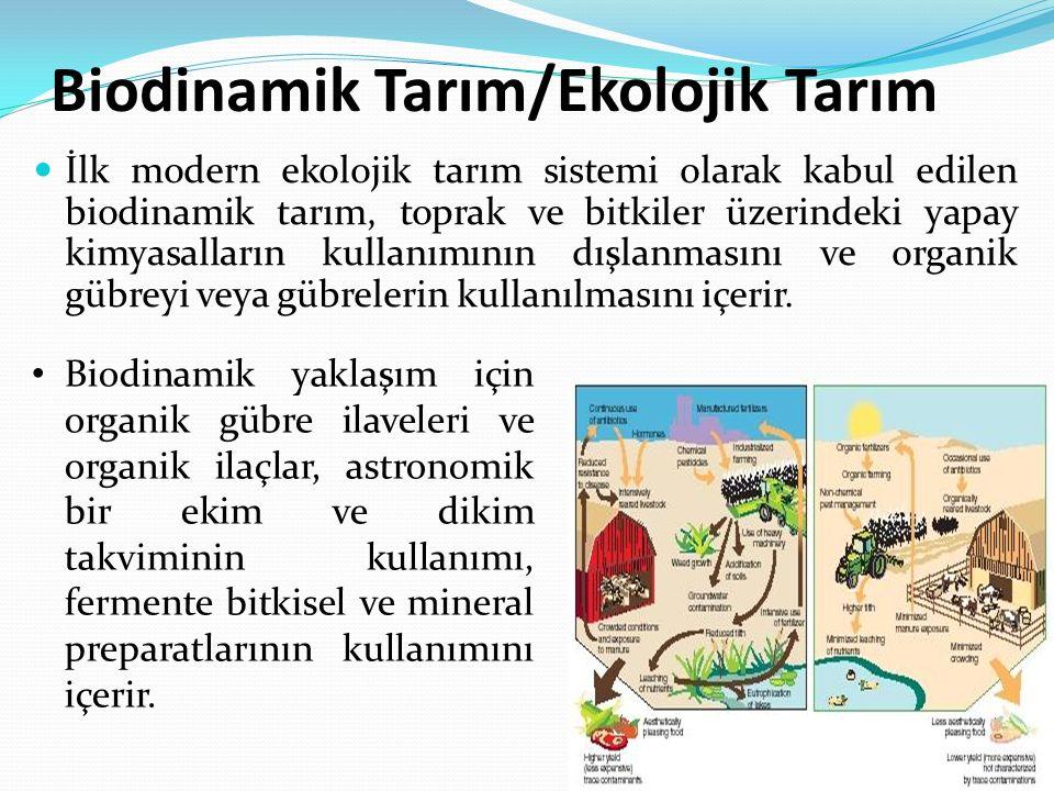 Biodinamik Tarım/Ekolojik Tarım İlk modern ekolojik tarım sistemi olarak kabul edilen biodinamik tarım, toprak ve bitkiler üzerindeki yapay kimyasalların kullanımının dışlanmasını ve organik gübreyi veya gübrelerin kullanılmasını içerir.