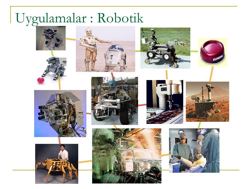 AKILLI SİSTEMLER VE UYGULAMALARI Uygulamalar : Robotik Milano'da kurabiye pişiriyorlar Volkanlardan örnek topluyorlar Artık Ford'da arabaları boyuyorlar Paris'te metroyu kullanıyorlar ya da İrlanda'da bombaları bulma konusunda uzman olarak görev alıyorlar.