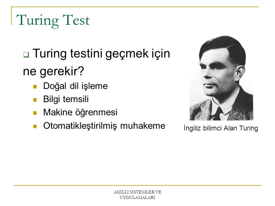 AKILLI SİSTEMLER VE UYGULAMALARI Turing Test  Turing testini geçmek için ne gerekir.