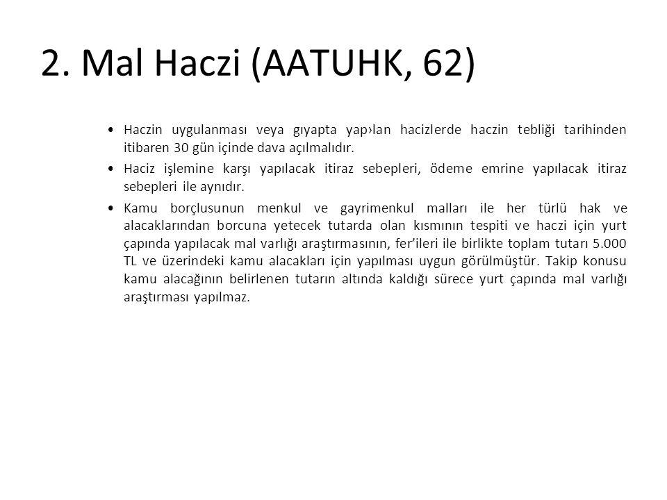 2. Mal Haczi (AATUHK, 62) Haczin uygulanması veya gıyapta yap›lan hacizlerde haczin tebliği tarihinden itibaren 30 gün içinde dava açılmalıdır. Haciz
