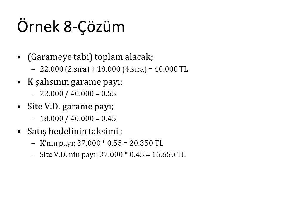 Örnek 8-Çözüm (Garameye tabi) toplam alacak; –22.000 (2.sıra) + 18.000 (4.sıra) = 40.000 TL K şahsının garame payı; –22.000 / 40.000 = 0.55 Site V.D.