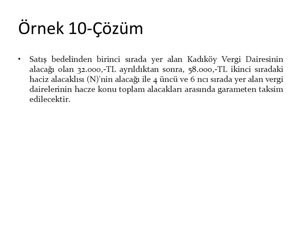 Örnek 10-Çözüm Satış bedelinden birinci sırada yer alan Kadıköy Vergi Dairesinin alacağı olan 32.000,-TL ayrıldıktan sonra, 58.000,-TL ikinci sıradaki