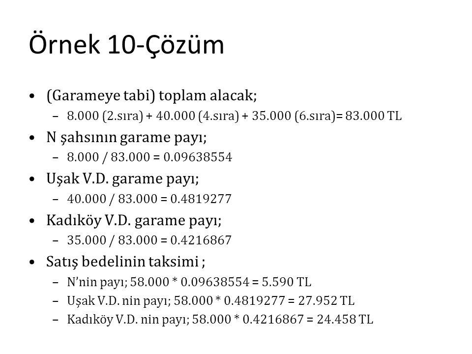 Örnek 10-Çözüm (Garameye tabi) toplam alacak; –8.000 (2.sıra) + 40.000 (4.sıra) + 35.000 (6.sıra)= 83.000 TL N şahsının garame payı; –8.000 / 83.000 =
