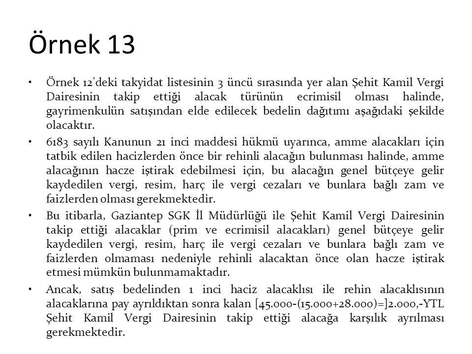 Örnek 13 Örnek 12'deki takyidat listesinin 3 üncü sırasında yer alan Şehit Kamil Vergi Dairesinin takip ettiği alacak türünün ecrimisil olması halinde