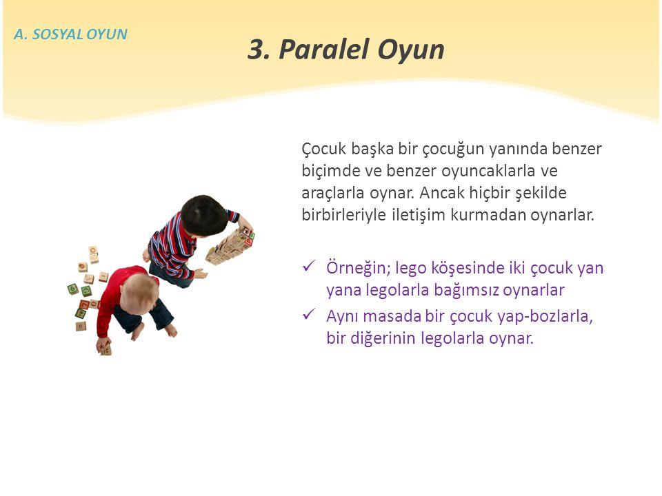 Çocuk başka bir çocuğun yanında benzer biçimde ve benzer oyuncaklarla ve araçlarla oynar.