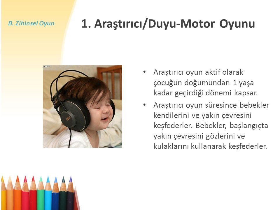 B. Zihinsel Oyun Araştırıcı oyun aktif olarak çocuğun doğumundan 1 yaşa kadar geçirdiği dönemi kapsar. Araştırıcı oyun süresince bebekler kendilerini