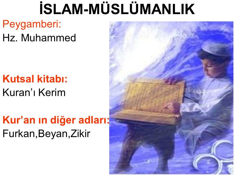 İSLAM-MÜSLÜMANLIK Peygamberi: Hz. Muhammed Kutsal kitabı: Kuran'ı Kerim Kur'an ın diğer adları: Furkan,Beyan,Zikir