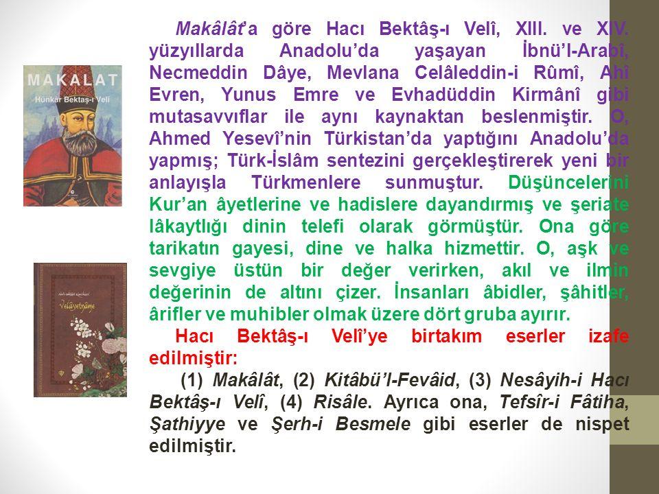 Makâlât'a göre Hacı Bektâş-ı Velî, XIII. ve XIV.