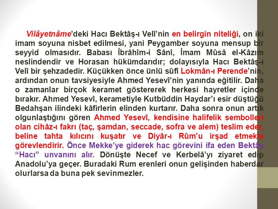 Vilâyetnâme'deki Hacı Bektâş-ı Velî'nin en belirgin niteliği, on iki imam soyuna nisbet edilmesi, yani Peygamber soyuna mensup bir seyyid olmasıdır.