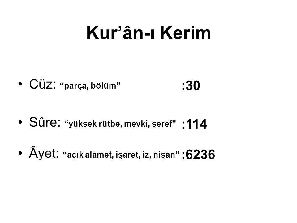 Kur'ân-ı Kerim Cüz: parça, bölüm Sûre: yüksek rütbe, mevki, şeref Âyet: açık alamet, işaret, iz, nişan :30 :114 :6236