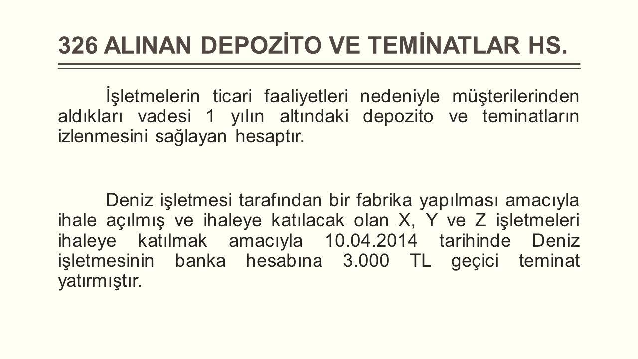 326 ALINAN DEPOZİTO VE TEMİNATLAR HS.