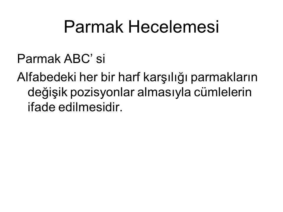 Parmak Hecelemesi Parmak ABC' si Alfabedeki her bir harf karşılığı parmakların değişik pozisyonlar almasıyla cümlelerin ifade edilmesidir.