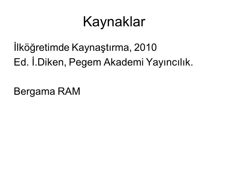 Kaynaklar İlköğretimde Kaynaştırma, 2010 Ed. İ.Diken, Pegem Akademi Yayıncılık. Bergama RAM