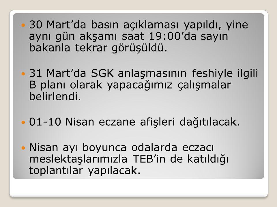 30 Mart'da basın açıklaması yapıldı, yine aynı gün akşamı saat 19:00'da sayın bakanla tekrar görüşüldü. 31 Mart'da SGK anlaşmasının feshiyle ilgili B
