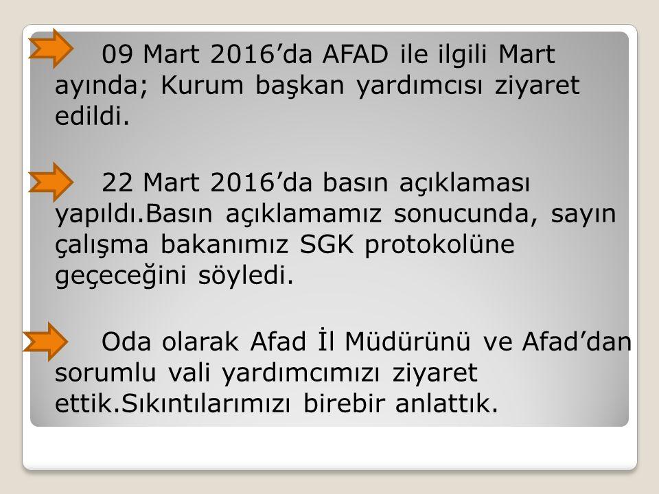 09 Mart 2016'da AFAD ile ilgili Mart ayında; Kurum başkan yardımcısı ziyaret edildi. 22 Mart 2016'da basın açıklaması yapıldı.Basın açıklamamız sonucu