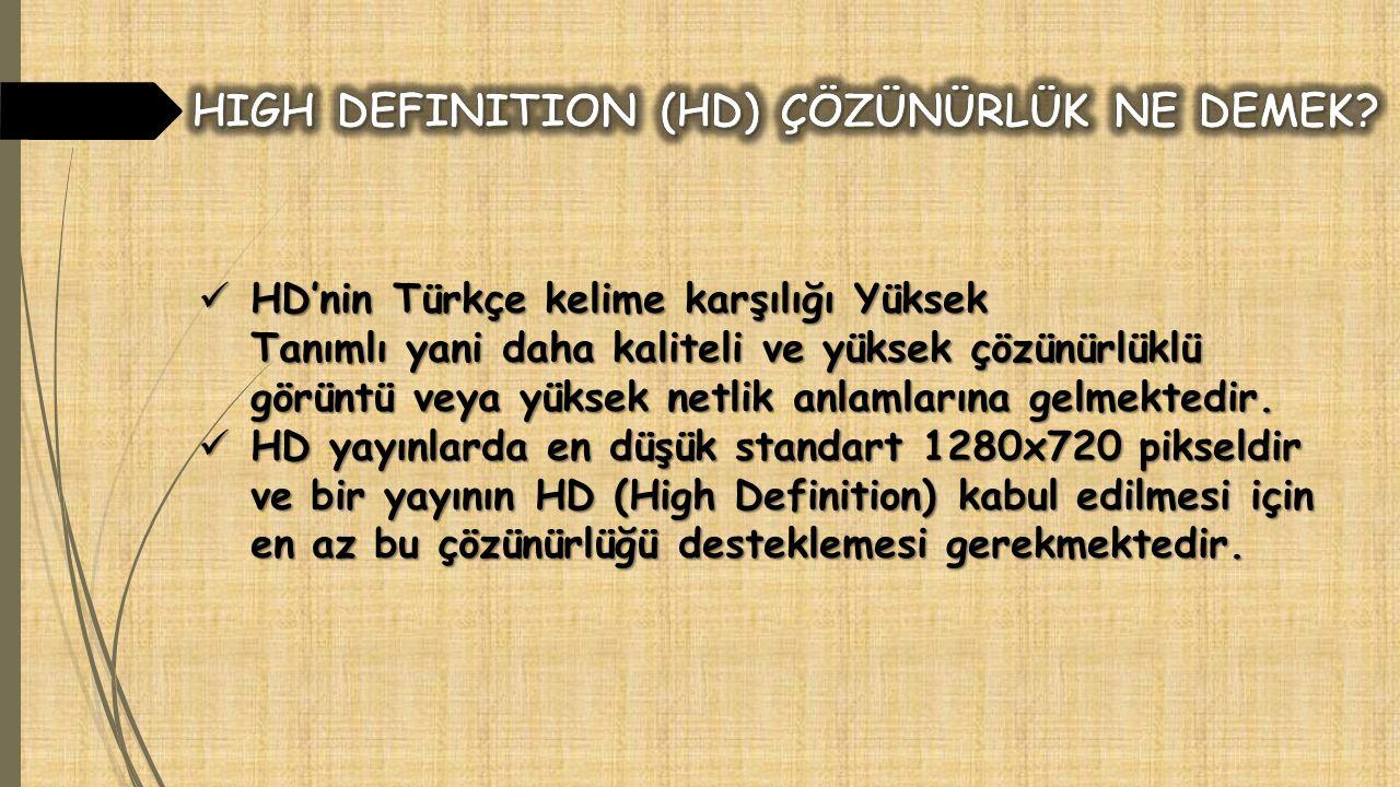 HD'nin Türkçe kelime karşılığı Yüksek Tanımlı yani daha kaliteli ve yüksek çözünürlüklü görüntü veya yüksek netlik anlamlarına gelmektedir.