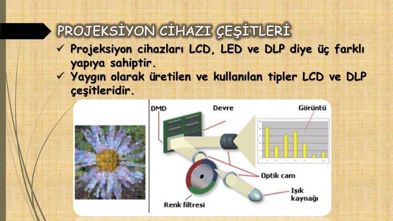Projeksiyon cihazları LCD, LED ve DLP diye üç farklı yapıya sahiptir. Projeksiyon cihazları LCD, LED ve DLP diye üç farklı yapıya sahiptir. Yaygın ola